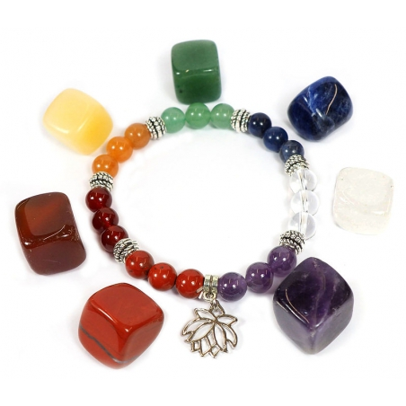 7 Chakra Armband mit Lotus + 7 Chakra steine gesetzt