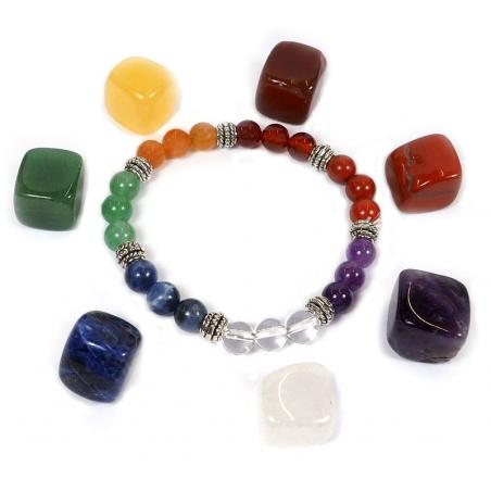 7 Chakra armband + 7 chakra stenen set