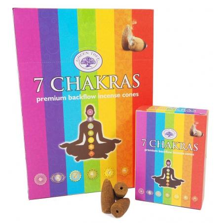 12 packs 7 Chakras backflow incense cones (Green Tree)