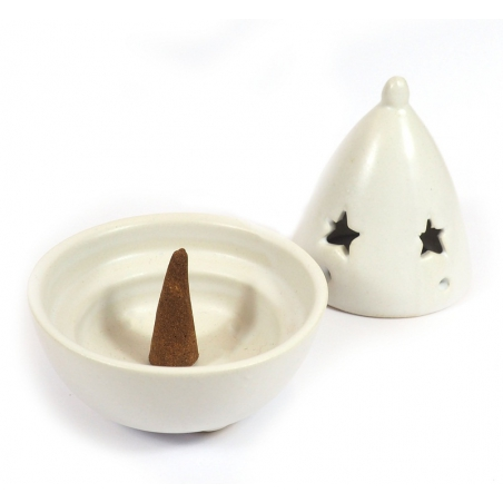 Cone incense burner with star (white)