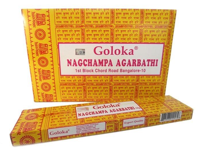 12 pakjes GOLOKA Nagchampa Agarbathi (16 gms)
