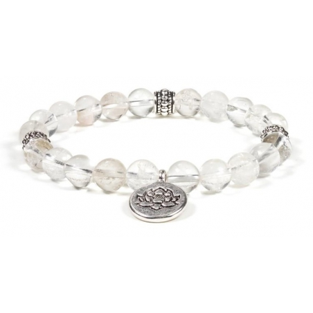Rock crystal bracelet with Lotus