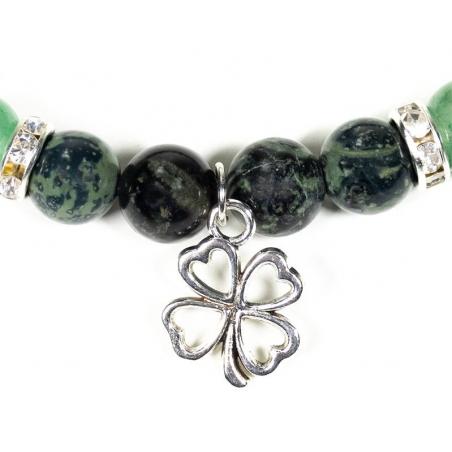 Kambaba and Aventurine bracelet with four-leaf clover