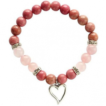 Rhodonit und Rosenquarz Armband mit Herz
