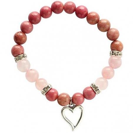 Rhodonite and Rose Quartz bracelet with heart