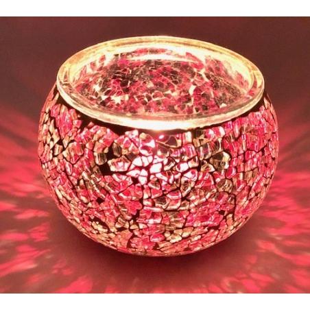Mosaic tealight holder Red