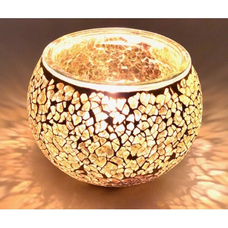 Mosaic tealight holder Yellow