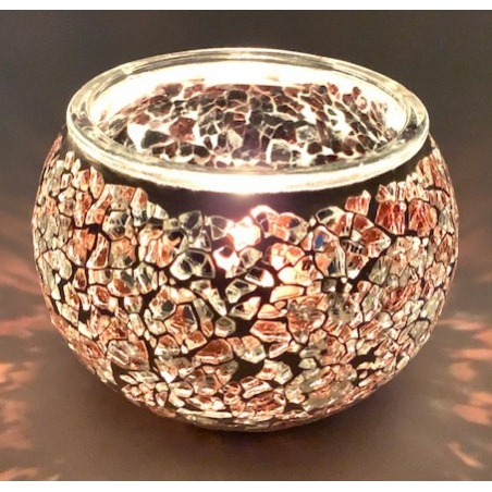 Mosaic tealight holder Brown