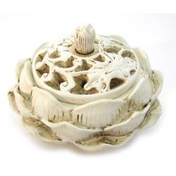 Lotusbloem wierookhouder/kegelbrander wit