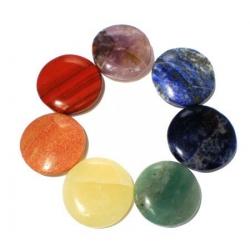 Set 7 Chakra mineraalstenen - rond (16572)