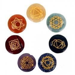 Set 7 Chakra symbolen mineraalstenen - rond