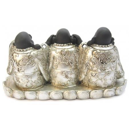 Chinese boeddha Horen, zien, zwijgen op console (zilver/zwart)