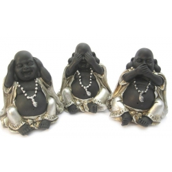 Chinese boeddha Horen, zien, zwijgen - klein (zilver/zwart)