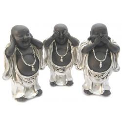 Chinese boeddha set Horen, zien, zwijgen 15 cm (zilver/zwart)