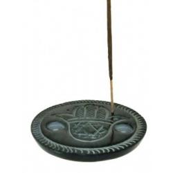 Wierookbrander Hebru Hand (zwart zeepsteen)
