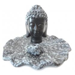Wierookhouder - Boeddha hoofd zwart/grijs