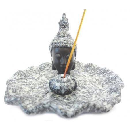 Incense holder-Thai Buddha Black/grey cracele dish
