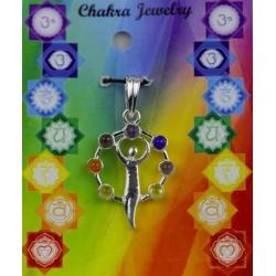 Godinnenfiguur 7 chakra halfedelstenen hanger (messing verzilverd)
