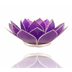 Lotus Kaarsenbrander - Amethyst Violet (zilverkleurige randen)