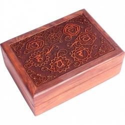 Tarotdoos zeven chakra's gegraveerd