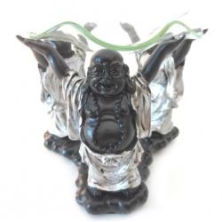 3 Lucky buddha oliebrander (zilver/zwart)