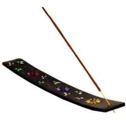 Wierookbrander ski met bloemmotieven (zwart zeepsteen)