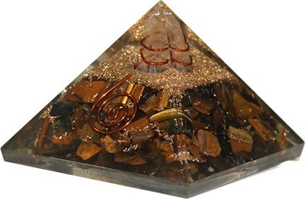 Orgone Piramide - Tijgeroog met Kristalpunt en koper