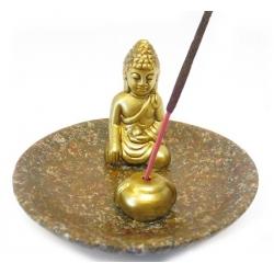 Wierookhouder - Goudkleurige Boeddha op bruin schaaltje