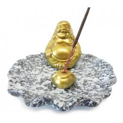 Wierookhouder - Gouden Lachende Boeddha op grijs schaaltje
