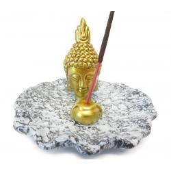 Räucherstäbchenhalter - Golden Thai Buddha Kopf auf grauem Teller
