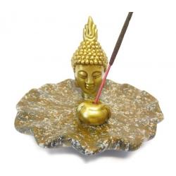 Räucherstäbchenhalter - Golden Thai Buddha Kopf auf braun Teller