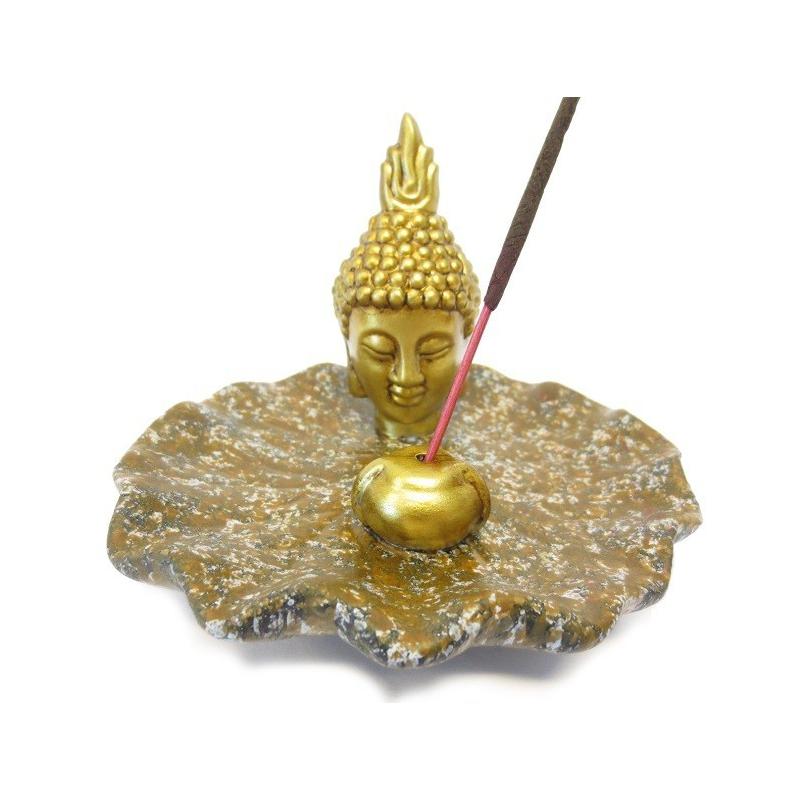Wierookhouder - Gouden Thaise Boeddhahoofd op bruin schaaltje