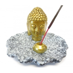 Räucherstäbchenhalter - Goldener Buddha Kopf auf grauem Teller