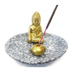 Räucherstäbchenhalter - Goldfarbener Buddha auf einer grauem Schale