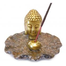 Räucherstäbchenhalter - Goldener Buddha Kopf auf braun Teller