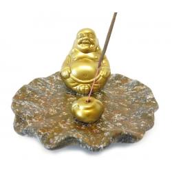 Wierookhouder - Gouden Lachende Boeddha op bruin schaaltje