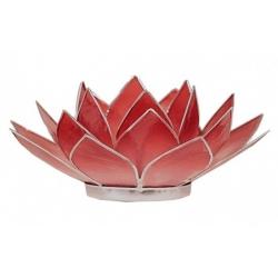 Lotus Kaarsenbrander - Roze/rood (zilverkleurige randen)