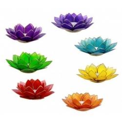 Lotus Kaarsenbrander set in 7 chakrakleuren (goudkleurige randen)