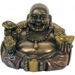 Chinesischer Buddha mit Mala, Goldnugget und Skepter (15085)