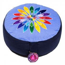 Meditatiekussen blauw bloem geborduurd (8023)