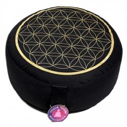 Meditatiekussen zwart/goud levensbloem opdruk (8040)