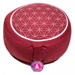 Meditatiekussen rood/zilver levensbloem opdruk (8041)