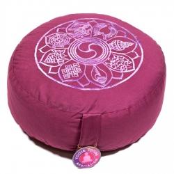 Meditatiekussen licht aubergine 8 symbolen geborduurd (8043)
