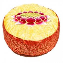 Meditatiekussen rood/geel lotus geborduurd (8058 )