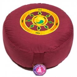 Meditatiekussen rood dharmawiel geborduurd (8067)