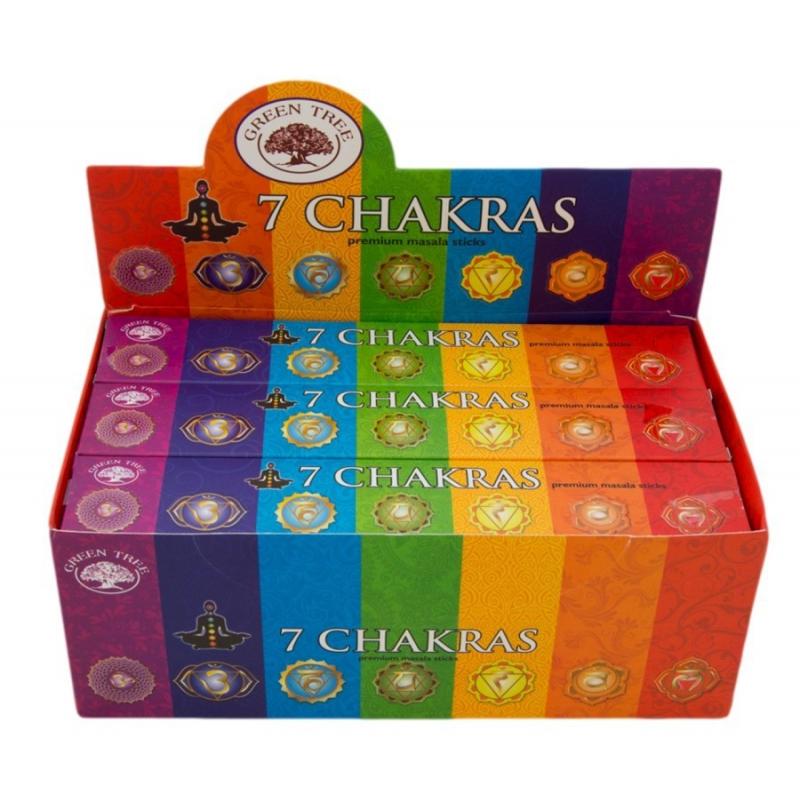 12 pakjes - 7 Chakra`s wierook (Green tree)