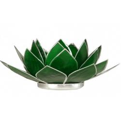 Lotus Kaarsenbrander - smaragdgroen (zilverkleurige randen)