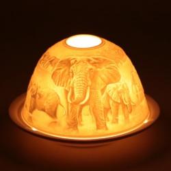 Stimmungsvoller Teelichthalter Porzellan Elefanten