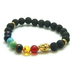 Chakra Lavastone round bead bracelet with gold colored buddha (8mm)