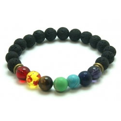 Chakra Lavastone round bead bracelet (8mm)